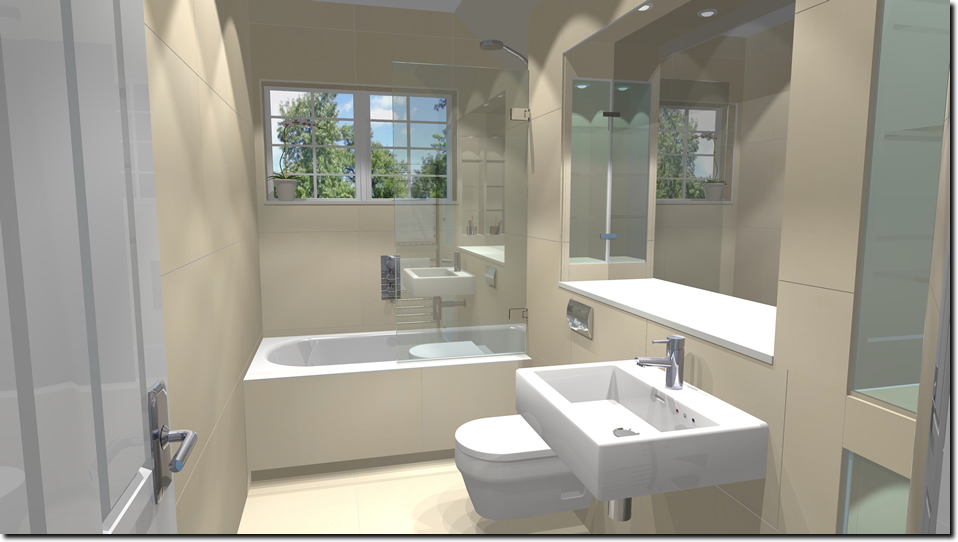 Oxshott village ceramics bathroom with seperate showers for Small family bathroom design